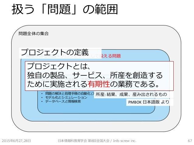扱う「問題」の範囲 2015年6月27,28日 日本情報科教育学会 第8回全国大会 / Info screw inc. 67 問題全体の集合 期限がある問題 = プロジェクトとして扱える問題 高校の教科「情報」で扱っている問題 問題解決の手段と...