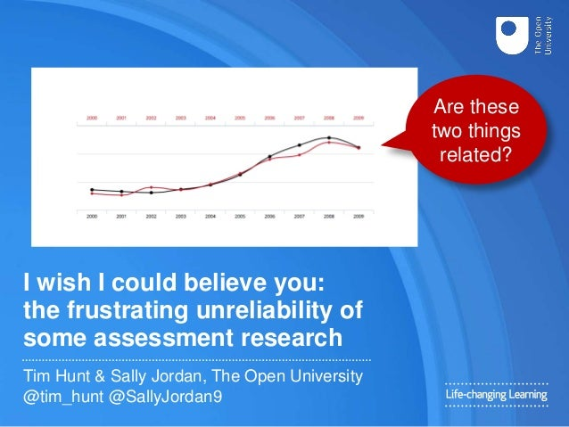 I wish I could believe you: the frustrating unreliability of some assessment research Tim Hunt & Sally Jordan, The Open Un...