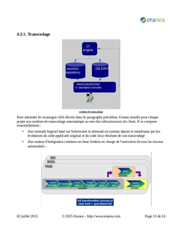4.3.1. Transcodage système de transcodage Pour atteindre les avantages clefs décrits dans le paragraphe précédent, Eranea ...