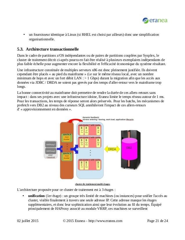 • un fournisseur identique à Linux (si RHEL est choisi par ailleurs) donc une simplification organisationnelle. 5.3. Archi...