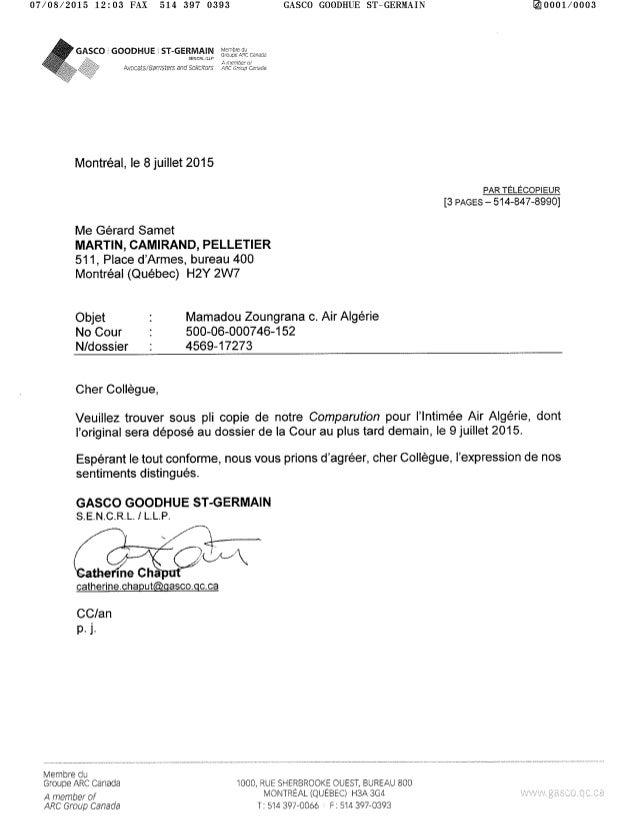 2015 07-08 comparution des avocats d'air algérie dans le dossier de recours collectif du crash a h 5017