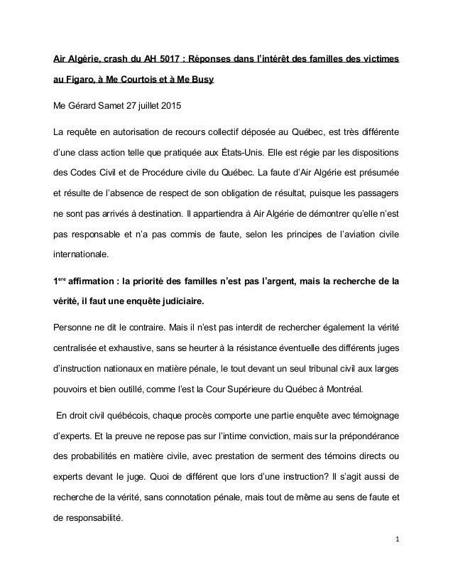 Air Algérie, crash du AH 5017 : Réponses dans l'intérêt des familles des victimes au Figaro, à Me Courtois et à Me Busy Me...