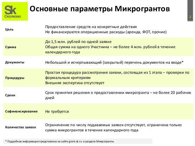 Микрогранты Сколково Slide 3