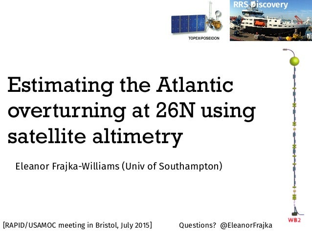 Estimating the Atlantic overturning at 26N using satellite altimetry Eleanor Frajka-Williams (Univ of Southampton) RRS Dis...