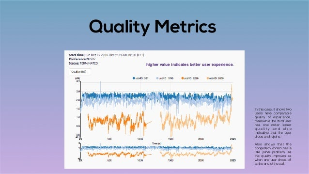 Quality Metrics In this case, it shows two users have comparable quality of experience, meanwhile the third user has one o...