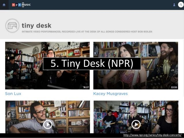 http://www.npr.org/event/music/212633651/mother-falcon-tiny-desk-concert Quick, relatively low-tech recordings of visiting...