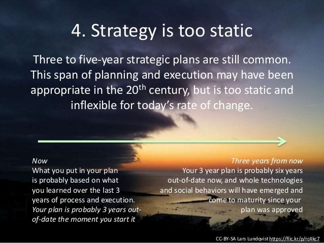 4. Strategy is too static CC-BY-SA Lars Lundqvist https://flic.kr/p/rc4kc7 Three to five-year strategic plans are still co...