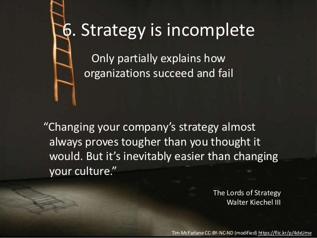6. Strategy is incomplete Only partially explains how organizations succeed and fail Tim McFarlane CC-BY-NC-ND (modified) ...