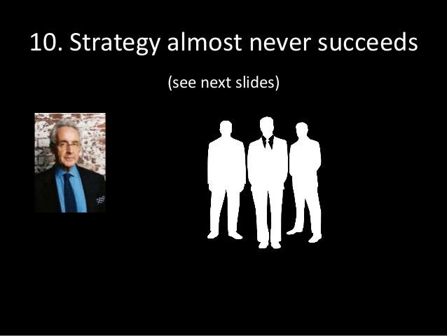 10. Strategy almost never succeeds (see next slides)