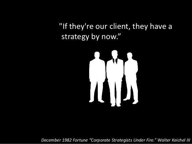 """""""If they're our client, they have a strategy by now."""" December 1982 Fortune """"Corporate Strategists Under Fire."""" Walter Kei..."""