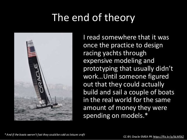 The end of theory I read somewhere that it was once the practice to design racing yachts through expensive modeling and pr...