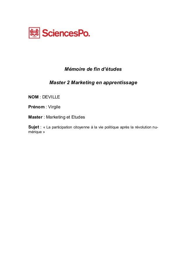 Mémoire de fin d'études Master 2 Marketing en apprentissage NOM : DEVILLE Prénom : Virgile Master : Marketing et Etudes Su...