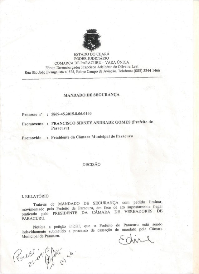 ESTADO DO CEARÁ PODER JUDICIÁRIO COMARCA DE PARACURU - VARA ÚNICA Fórum Desembargador Francisco Adalberto de Oliveira Leal...
