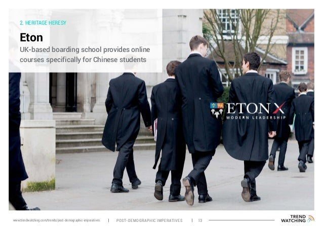 2. HERITAGE HERESY Eton UK-based boarding school provides online courses specifically for Chinese students POST-DEMOGRAPHI...