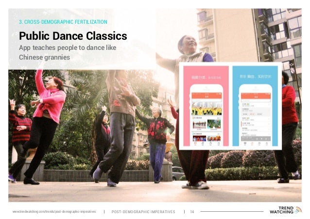 3. CROSS-DEMOGRAPHIC FERTILIZATION Public Dance Classics App teaches people to dance like Chinese grannies POST-DEMOGRAPHI...