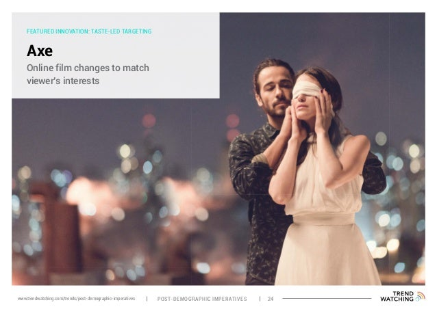 FEATURED INNOVATION: TASTE-LED TARGETING Axe Online film changes to match viewer's interests POST-DEMOGRAPHIC IMPERATIVES ...