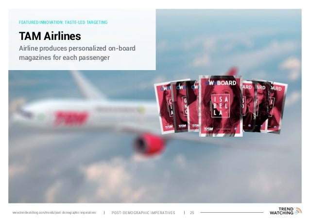 FEATURED INNOVATION: TASTE-LED TARGETING TAM Airlines Airline produces personalized on-board magazines for each passenger ...