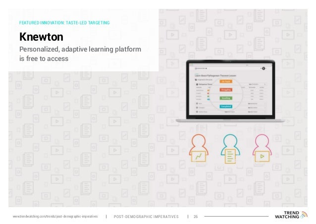 FEATURED INNOVATION: TASTE-LED TARGETING Knewton Personalized, adaptive learning platform is free to access POST-DEMOGRAPH...