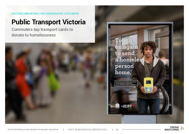 FEATURED INNOVATION: POST-DEMOGRAPHIC CITYSUMERS Public Transport Victoria Commuters tap transport cards to donate to home...