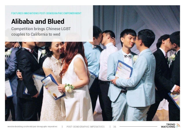 FEATURED INNOVATIONS POST-DEMOGRAPHIC EMPOWERMENT Alibaba and Blued Competition brings Chinese LGBT couples to California ...