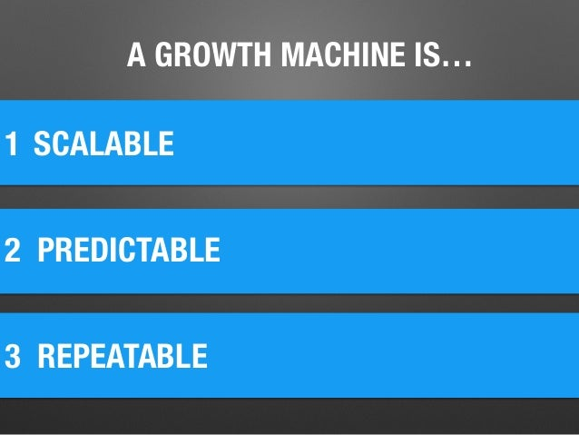 A GROWTH MACHINE IS… 1 2 PREDICTABLE SCALABLE 3 REPEATABLE