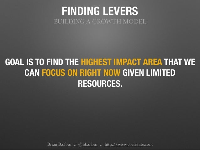 FINDING LEVERS BUILDING A GROWTH MODEL GOAL IS TO FIND THE HIGHEST IMPACT AREA THAT WE CAN FOCUS ON RIGHT NOW GIVEN LIMITE...