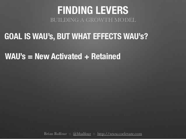 FINDING LEVERS BUILDING A GROWTH MODEL GOAL IS WAU's, BUT WHAT EFFECTS WAU's? WAU's = New Activated + Retained Brian Balfo...