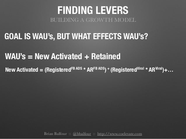 FINDING LEVERS BUILDING A GROWTH MODEL GOAL IS WAU's, BUT WHAT EFFECTS WAU's? WAU's = New Activated + Retained New Activat...