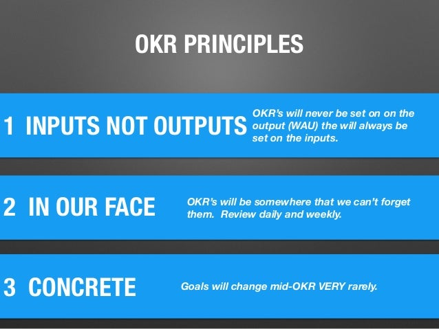 1 2 IN OUR FACE INPUTS NOT OUTPUTS 3 CONCRETE OKR's will never be set on on the output (WAU) the will always be set on th...