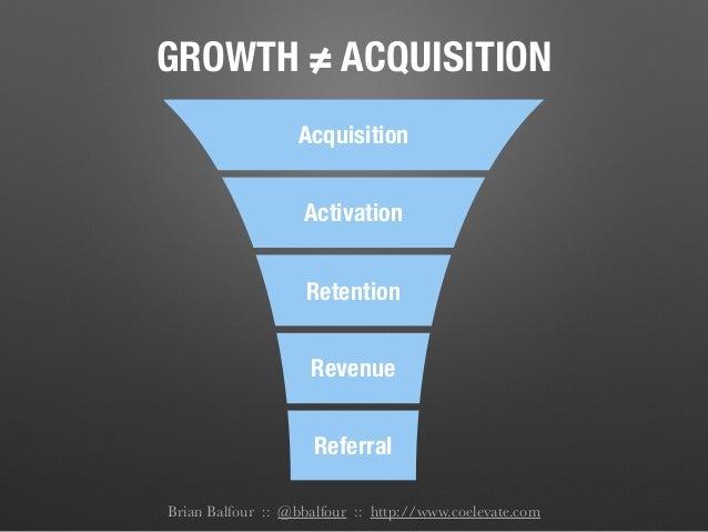 Revenue Referral Activation Retention Acquisition GROWTH ≠ ACQUISITION Brian Balfour :: @bbalfour :: http://www.coelevate....