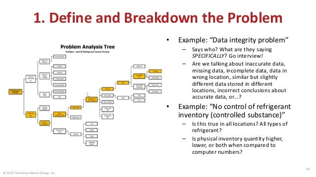 """© 2015 The Karen Martin Group, Inc. 16 1. Define and Breakdown the Problem • Example: """"Data integrity problem"""" – Says who?..."""
