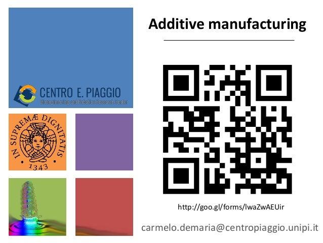 Additive manufacturing carmelo.demaria@centropiaggio.unipi.it http://goo.gl/forms/lwaZwAEUir