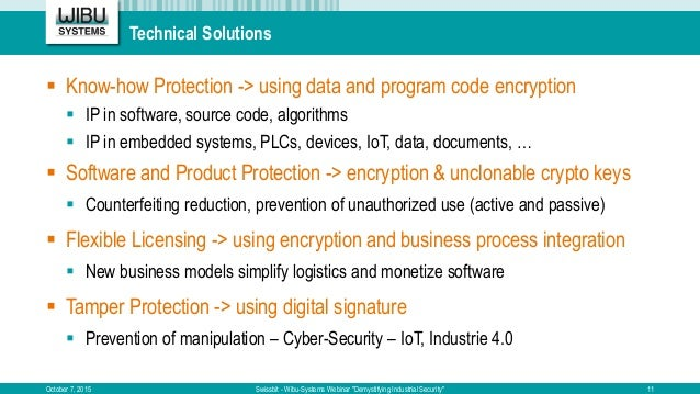 """Technical Solutions October 7, 2015 Swissbit - Wibu-Systems Webinar """"Demystifying Industrial Security""""  Know-how Protecti..."""