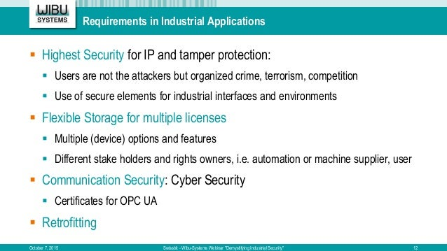 Requirements in Industrial Applications  Highest Security for IP and tamper protection:  Users are not the attackers but...