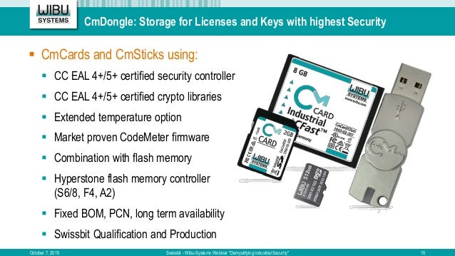 """CmDongle: Storage for Licenses and Keys with highest Security October 7, 2015 Swissbit - Wibu-Systems Webinar """"Demystifyin..."""