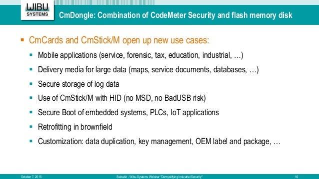 "CmDongle: Combination of CodeMeter Security and flash memory disk October 7, 2015 Swissbit - Wibu-Systems Webinar ""Demysti..."