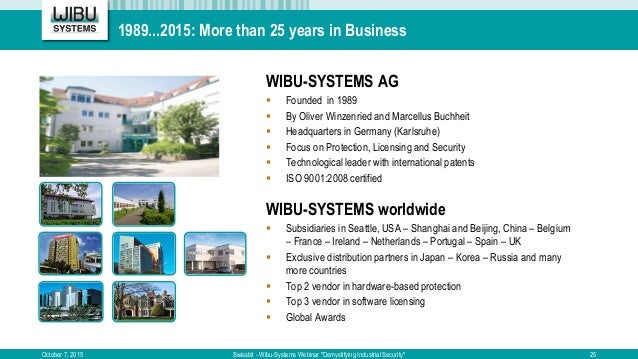 """1989...2015: More than 25 years in Business October 7, 2015 Swissbit - Wibu-Systems Webinar """"Demystifying Industrial Secur..."""