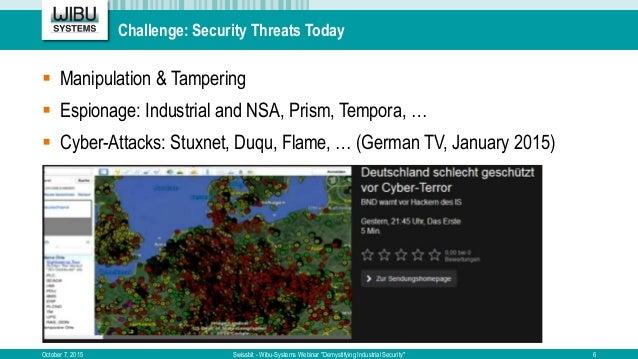 "Challenge: Security Threats Today October 7, 2015 Swissbit - Wibu-Systems Webinar ""Demystifying Industrial Security""  Man..."