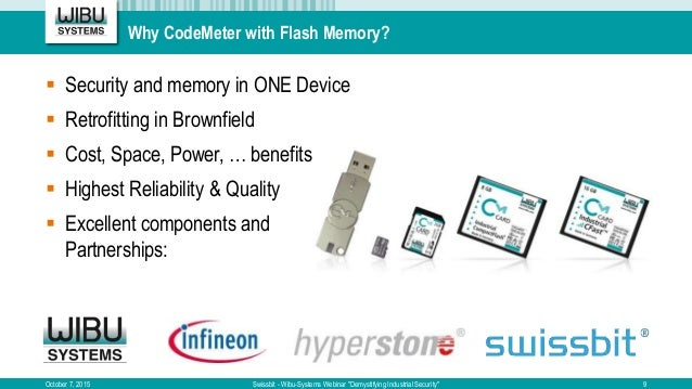 Why CodeMeter with Flash Memory?  Security and memory in ONE Device  Retrofitting in Brownfield  Cost, Space, Power, … ...