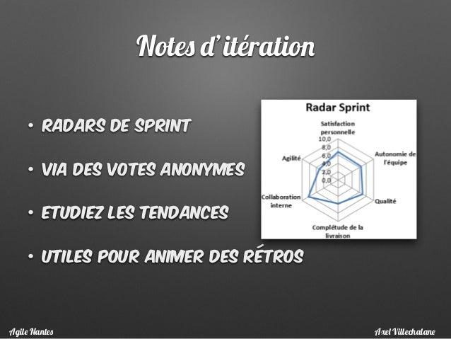 Notes d'itération • Radars de sprint • Via des votes anonymes • Etudiez les tendances • utiles pour animer des rétros Axel...