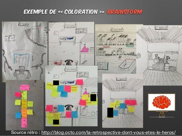 BRainstormExemple de « coloration » Source rétro : http://blog.octo.com/la-retrospective-dont-vous-etes-le-heros/