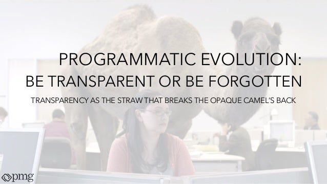 PROGRAMMATIC EVOLUTION: BE TRANSPARENT OR BE FORGOTTEN TRANSPARENCY AS THE STRAW THAT BREAKS THE OPAQUE CAMEL'S BACK