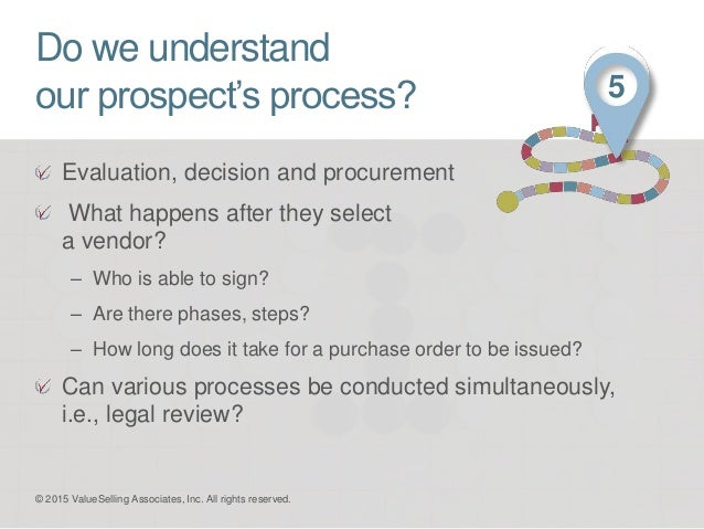 Do we understand our prospect's process? Evaluation, decision and procurement What happens after they select a vendor? – W...
