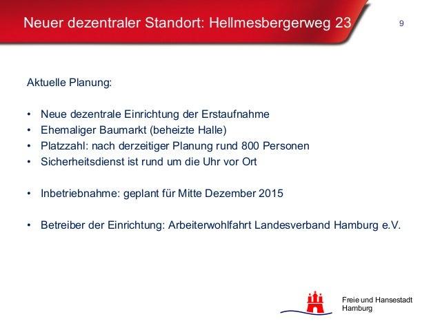 Freie und Hansestadt Hamburg Neuer dezentraler Standort: Hellmesbergerweg 23 Aktuelle Planung: • Neue dezentrale Einrichtu...