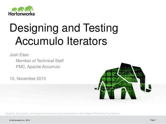 © Hortonworks Inc. 2014 Designing and Testing Accumulo Iterators Josh Elser Member of Technical Staff PMC, Apache Accumulo...