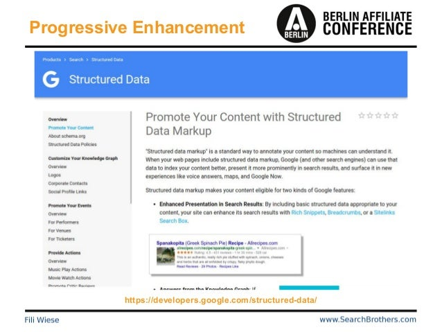 Progressive Enhancement https://developers.google.com/structured-data/
