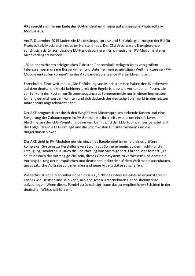AKEsprichtsichfüreinEndederEU-HandelshemmnisseaufchinesischePhotovoltaik- Moduleaus.  Am7.Dezember2015la...