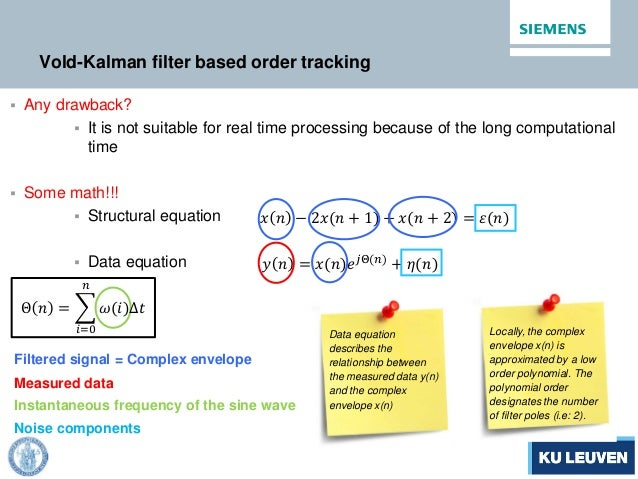 Vold-Kalman filter based order tracking  Any drawback?  It is not suitable for real time processing because of the long ...