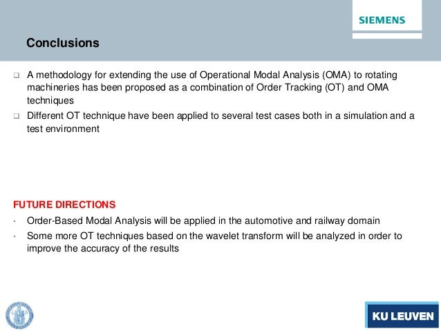 Conclusions  A methodology for extending the use of Operational Modal Analysis (OMA) to rotating machineries has been pro...