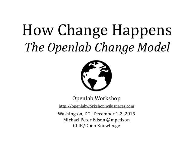 How Change Happens The Openlab Change Model Openlab Workshop http://openlabworkshop.wikispaces.com Washington, DC. Decembe...